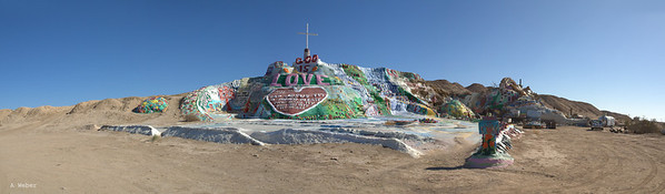 General view of the Salvation Mountain complex at the entry to the Slab City near Niland, California
