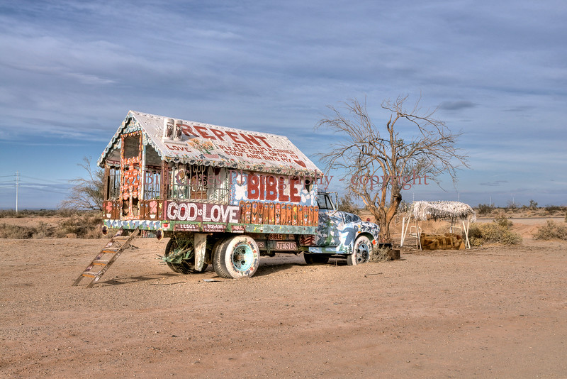 Leonard Knight lived in this converted truck with built in camper for many years, with no electricity or water