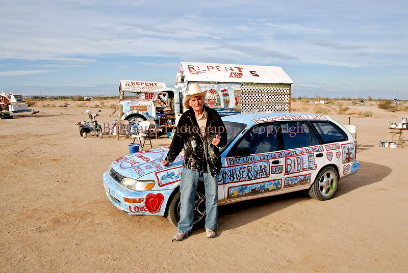 Leonard Knight and Painted Auto and Motor Home - Salvation Mountain