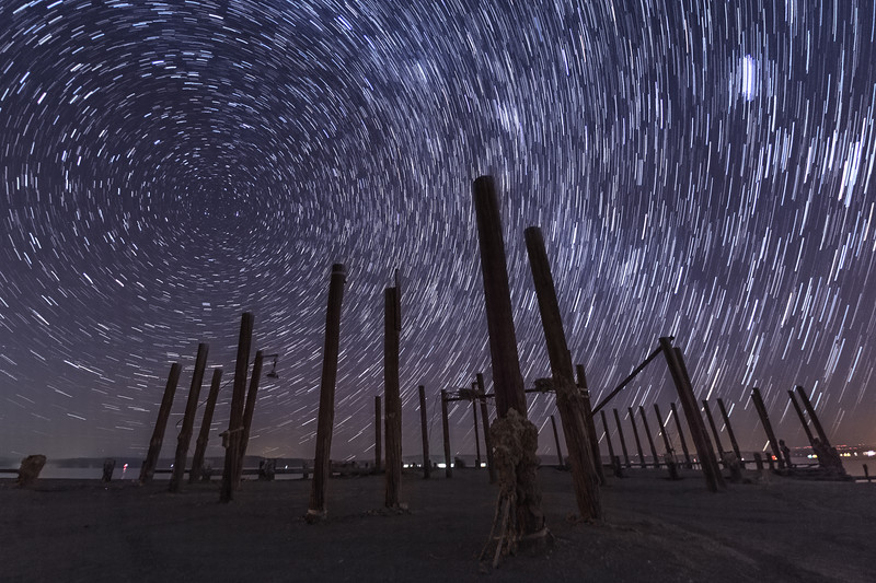 Star Trails Over an Abandoned Pier