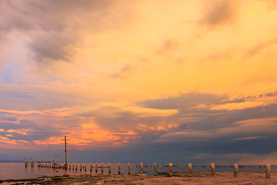 Epic Colorful Sunset and Storm Over the Southern Portion of the Salton Sea