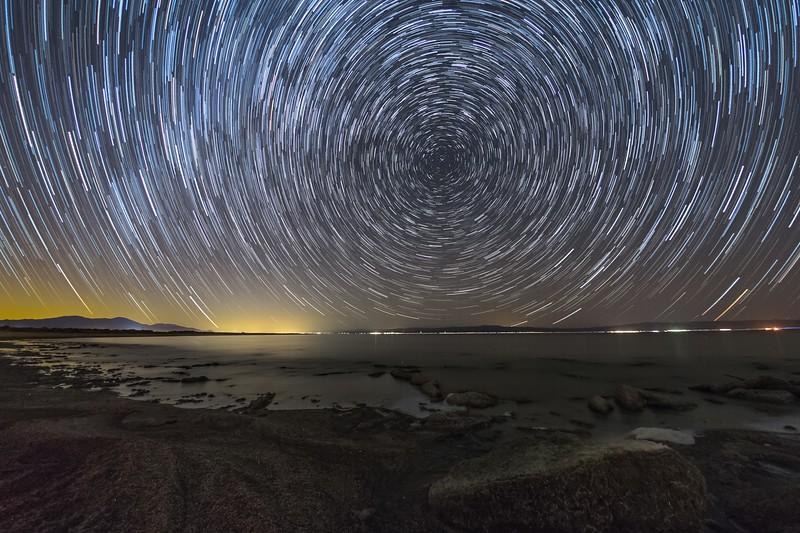 Star Trails Over the Salton Sea.