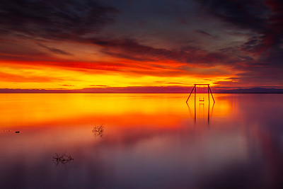 Stunning Spectacular and Serene Still Salton Sea Sunset Ssippi Swing Set on Saturday.