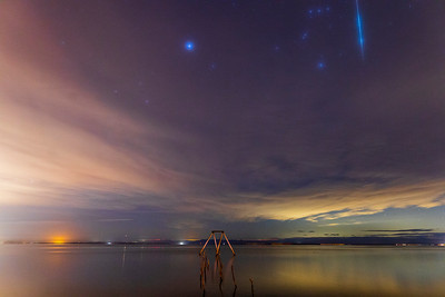 🌠 Orion and a Geminid Meteor Over the Salton Sea at Bombay Beach 🌠