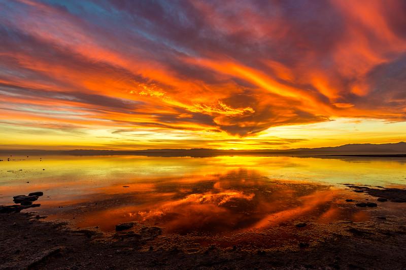 Stunning Saturday Sunset on the Shore of the Salton Sea. Take 1.