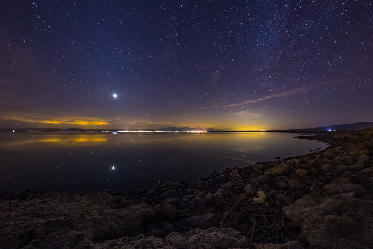 Starry Night Over a Calm Salton Sea