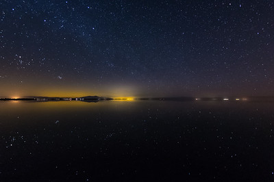 Stars Sparkle On the Shiny Serene Still Surface of the South Shore of the Salton Sea