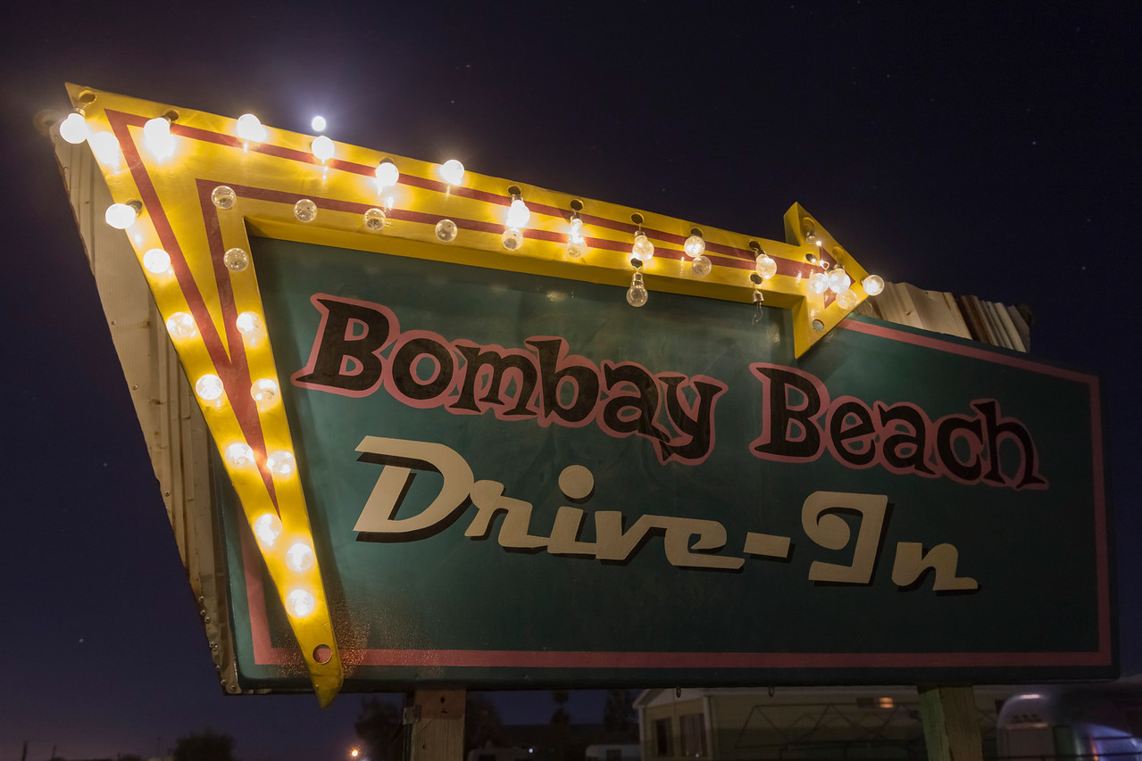 Bombay Beach Drive-In Theatre sign