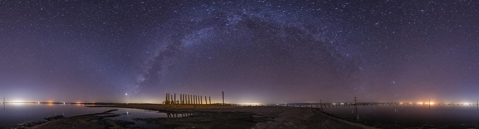 Milky Way Over Salton Sea Naval Station Panorama