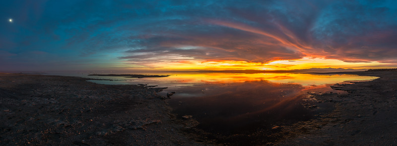 Sunset and Moon Panorama at Bombay Beach
