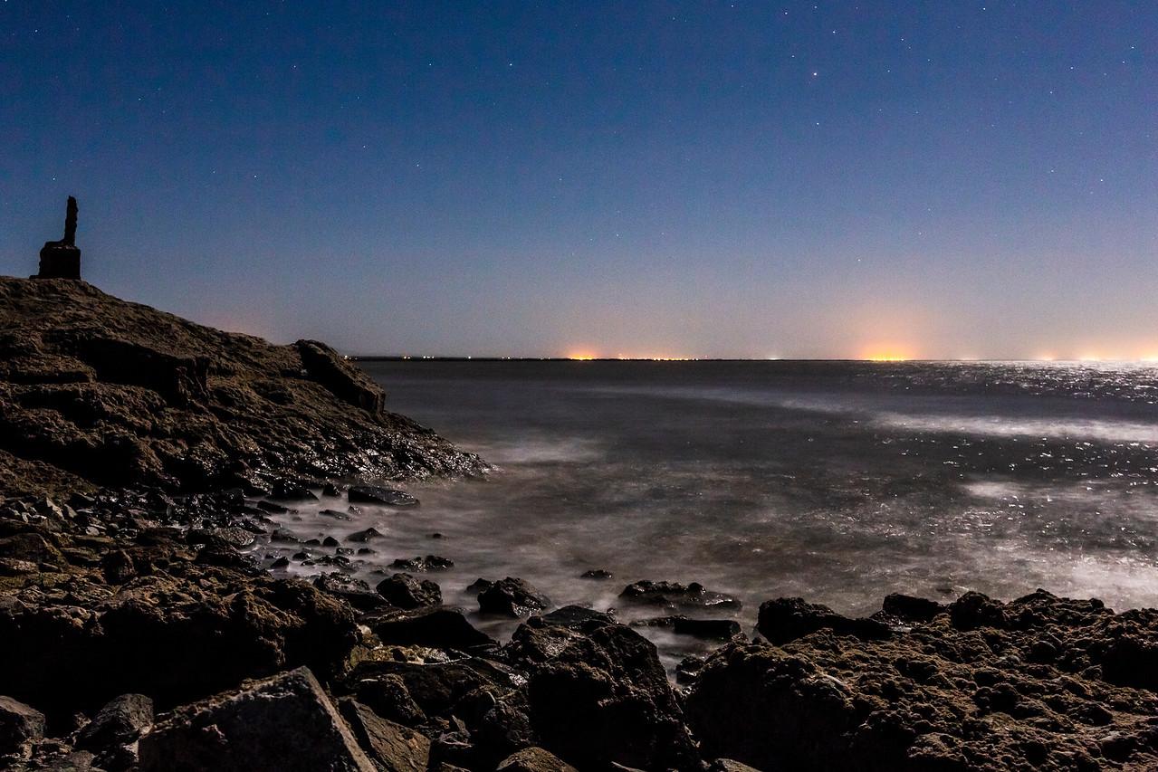 Choppy Water Under A 95% Full Moon At The Salton Sea