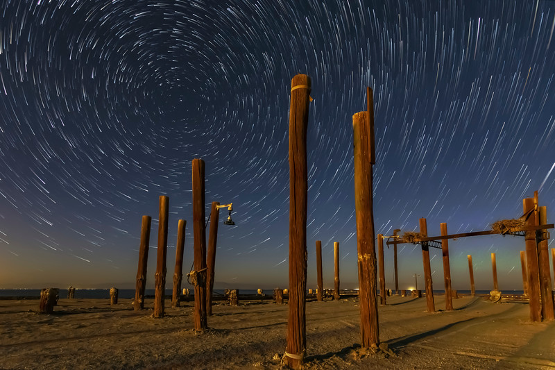 Star Trails Above Pilings at the Remains of the Salton Sea Navy Test Base