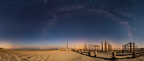 Abandoned Salton Sea Naval Station Moonlit Milky Way Panorama
