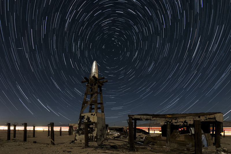 Star Trails At The Salton Sea Alien Portal