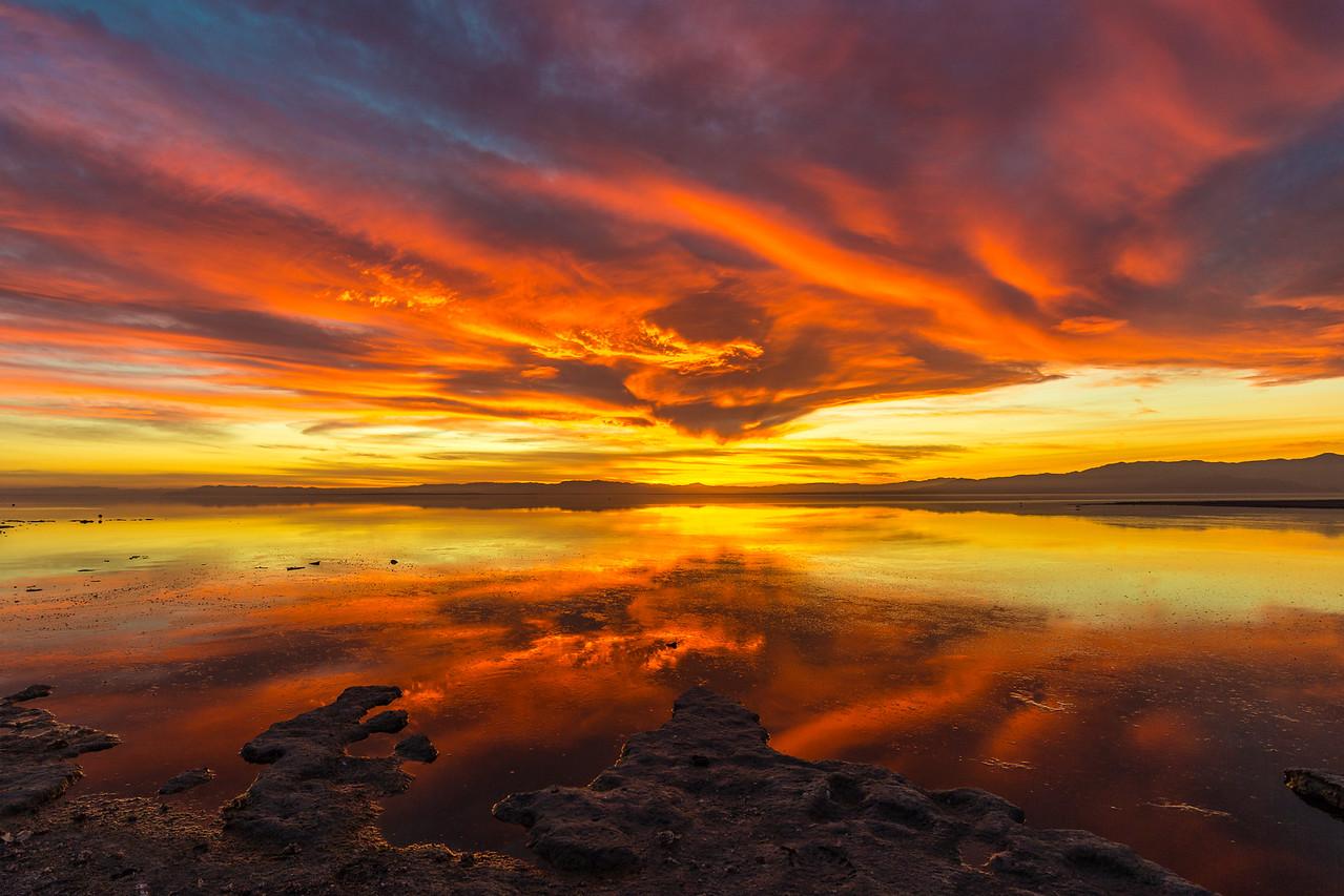 Stunning Saturday Sunset on the Shore of the Salton Sea Take 3.