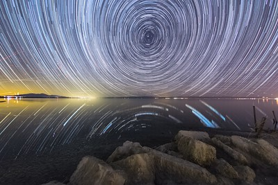 Stars Spin in the Sky Above the Southern Shore of the Salton Sea