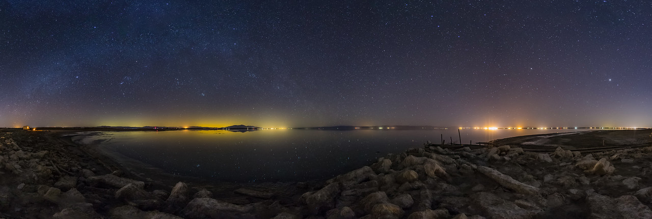 Nighttime Panorama at the South Shore of the Salton Sea