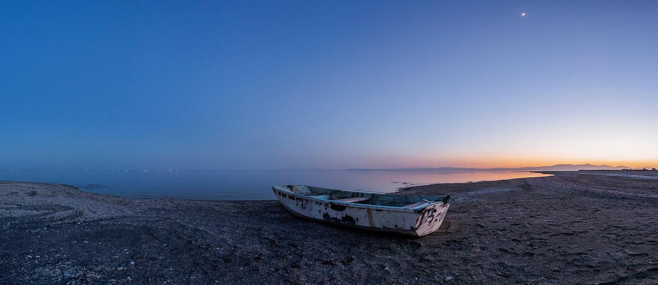 Bombay Beach Blue Hour Boat