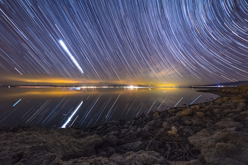 Star Trails Above the Salton Sea