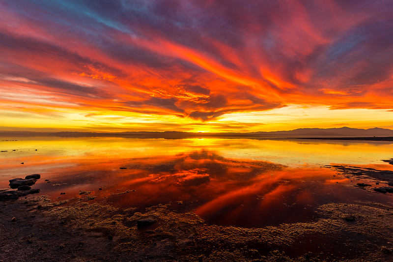 Stunning Saturday Sunset on the Shore of the Salton Sea Take 4.