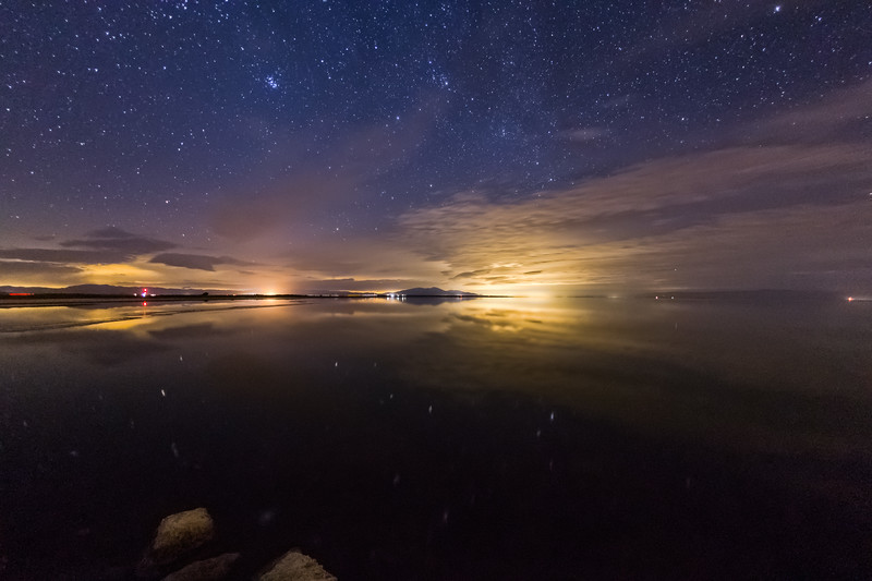 Clouds and Stars and Reflections at the Salton Sea Tonight