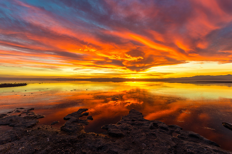 Stunning Saturday Sunset on the Shore of the Salton Sea. Take 2.