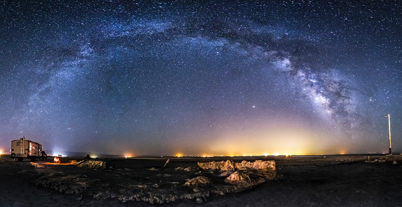Camping under the Milky Way at Bombay Beach at the Salton Sea
