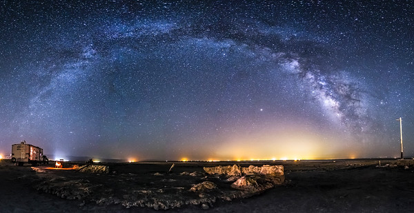 Camping under the Milky Way at Bombay Beach at the Salton Sea