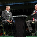 Saint Xavier High School head football coach Will Wolford answered a question asked by emcee John Asher.