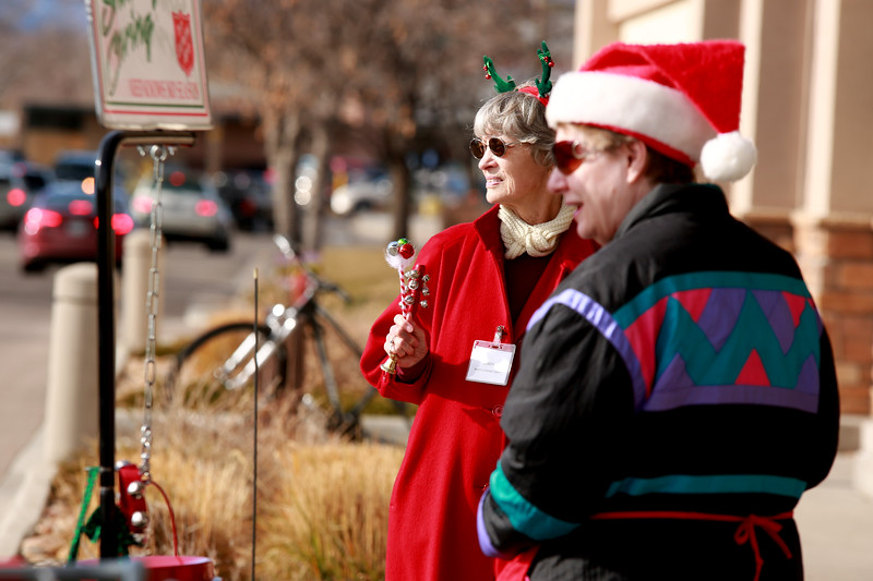 Sandy Dorcey and Jean Weiss ring their bells to collect donations for The Salvation Army at the Orchard King Soopers on Dec. 1, 2018 in Loveland, Colo.<br /> Photo by Taelyn Livingston/ Loveland Reporter-Herald