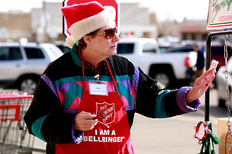 Jean Weiss works as a bellringer for The Salvation Army to collect donations at the Orchard King Soopers on Dec. 1, 2018 in Loveland, Colo.<br /> Photo by Taelyn Livingston/ Loveland Reporter-Herald