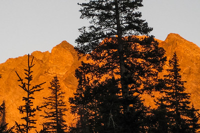 Terry captures the alpenglow as we arrive back at base camp. [Terry Patterson photo]