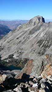 Kane Lake (below) and Devils Bedstead East from summit of Salzburger Spitzl.
