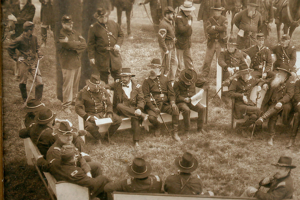 . Sam Grant, who re-enact Gen. Ulysses S. Grant, is in this picture playing the former president that sits on his wall at his home in Townsend MA. It was a pictures taken to look like an old picture. He is on the left bench second from the left. SENTINEL & ENTERPRISE/JOHN LOVE