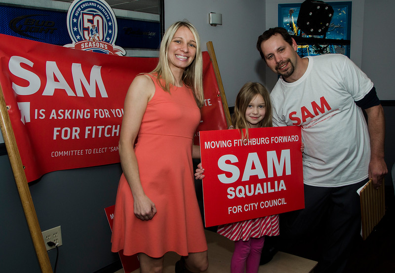 City Council Candidate Sam Squailia poses with daughter Niki and husband Nick during her campaign kick off event at Beemer's Pub in Fitchburg on Wednesday, May 3, 2017. SENTINEL & ENTERPRISE / Ashley Green