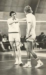 Sigfús Ægir Árnason lýkur badmintonkeppni á Íþróttahátíð ÍSÍ 1970.