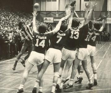 Handboltaleikur í Laugardalshöll milli 1962 og 1980