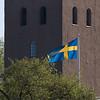 Caroli kyrka med svenska flaggan