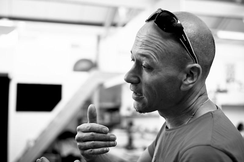 Etienne Expilly während des offenen Ateliers A4 in Wattwil. 16. Mai 2015.