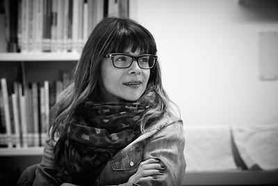 Eine dynamische Tanja Kummer – Buchautorin, Schriftstellerin und bald vegane  Restaurateurin – an der frühherbstlichen Korrespondentensitzung von Thurgaukultur.ch.  Kreuzlingen. Schweiz, September 2014.
