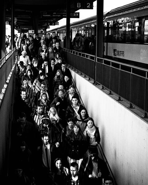 Commuting.  Frauenfeld, April 2012.