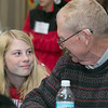 The Samoset Middle School held for the eleventh year the Bring a Veteran To Lunch in honor on Veterans Day Friday, Nov. 8, 2019. Eighth grader Riley Moore, 13, chats with her grandfather Douglas Moore, who was in the Air Force, as they had lunch together during the event.  SENTINEL & ENTERPRISE/JOHN LOVE