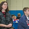 The Samoset Middle School held for the eleventh year the Bring a Veteran To Lunch in honor on Veterans Day Friday, Nov. 8, 2019. One of the honored guest for the event was State Rep. Natalie Higgins. Sitting next to her is eighth grader Michael Lemieux. SENTINEL & ENTERPRISE/JOHN LOVE