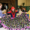 Left to right; Megan Dube , Emma Mobley  and Kylie Plamoa, all 6th graders of Samoset Middle School, hold a finished no-sew blanket for Health Alliance Hospitals during a 2 hour service workshop held at Samoset Middle School on Friday Dec. 23, 2016.  (Sentinel & Enterprise photo/Jeff Porter)