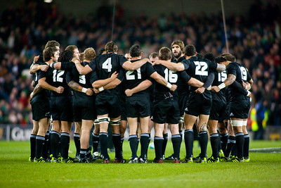 The New Zealand All Blacks in a huddle before the International rugby test with Ireland against the New Zealand All Blacks at Aviva Stadium Dublin. November 2010