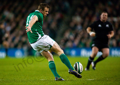 Tommy Bowe kicks during the International rugby test with Ireland against the New Zealand All Blacks at Aviva Stadium Dublin