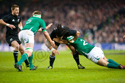 Ma'a Nonu is tackled by Rory Best with Mick O'Driscoll lending a hand and Cory Jane looking on. During the International rugby test with Ireland against the New Zealand All Blacks at Aviva Stadium Dublin. November 2010