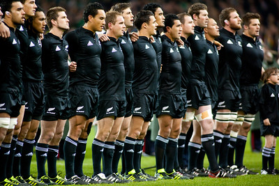 The New Zealand All Blacks line up for the pre anthem before the International rugby test with Ireland against the New Zealand All Blacks at Aviva Stadium Dublin. November 2010