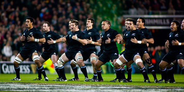 The New Zealand All Blacks preform the pre match haka before the International rugby test with Ireland against the New Zealand All Blacks at Aviva Stadium Dublin. November 2010