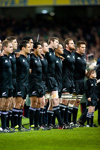 The All Blacks line up for the pre match anthem before the International rugby test with Ireland against the New Zealand All Blacks at Aviva Stadium Dublin. November 2010